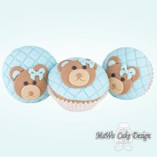 8 Teddybär Cupcakes (blau)