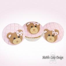 8 Teddybär Cupcakes (rosa)