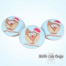 8 Winter-Eulen Cupcakes