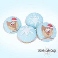 8 Schneeflocken-Eulen Cupcakes