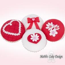 8 Blumen-Herz Cupcakes
