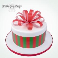 Weihnachtsgeschenk-Torte (rot-grün)